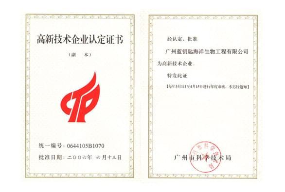 广州蓝钥匙荣获高新企业认证证书